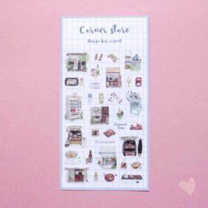 Cartela de adesivos de restaurantes e comida