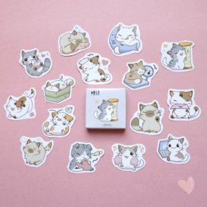 caixinha de adesivos de gato