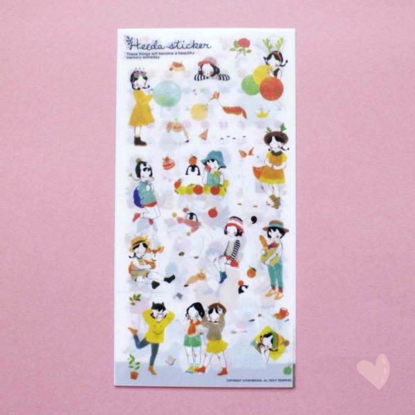 cartelas de adesivos menina fofa