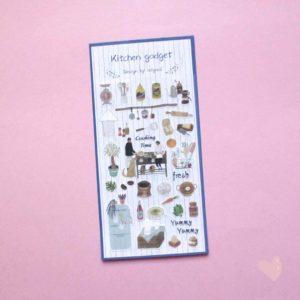 Cartela de adesivos de coisas de cozinha