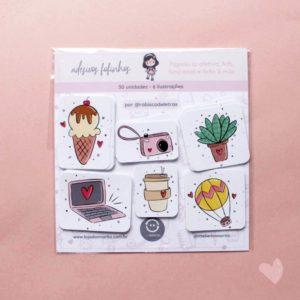 pacote de adesivos fofinhos ilustrados pela Rabisco de Letras