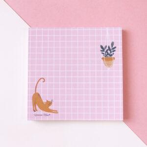Bloquinho de anotações gatinho com planta