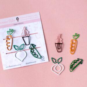 clips coloridos cenoura sorvete vagem nabo