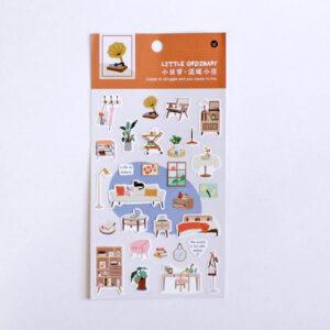 adesivos de móveis plantas gato livros