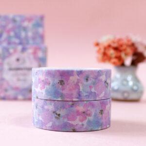 washi tape com flores aquareladas