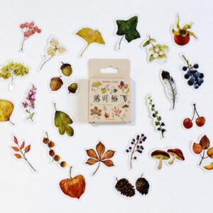 caixinha de adesivos com folhagens de outono